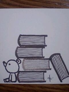 *積み上げた本はんこ**