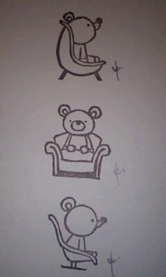 *いろんな椅子乗りくまさんはんこ 3**