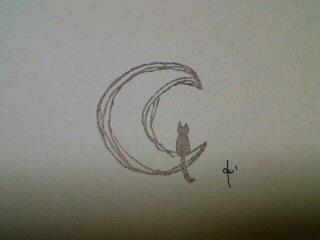 *月と猫ハンコ*
